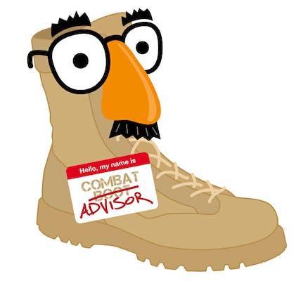 cartoon combat boot