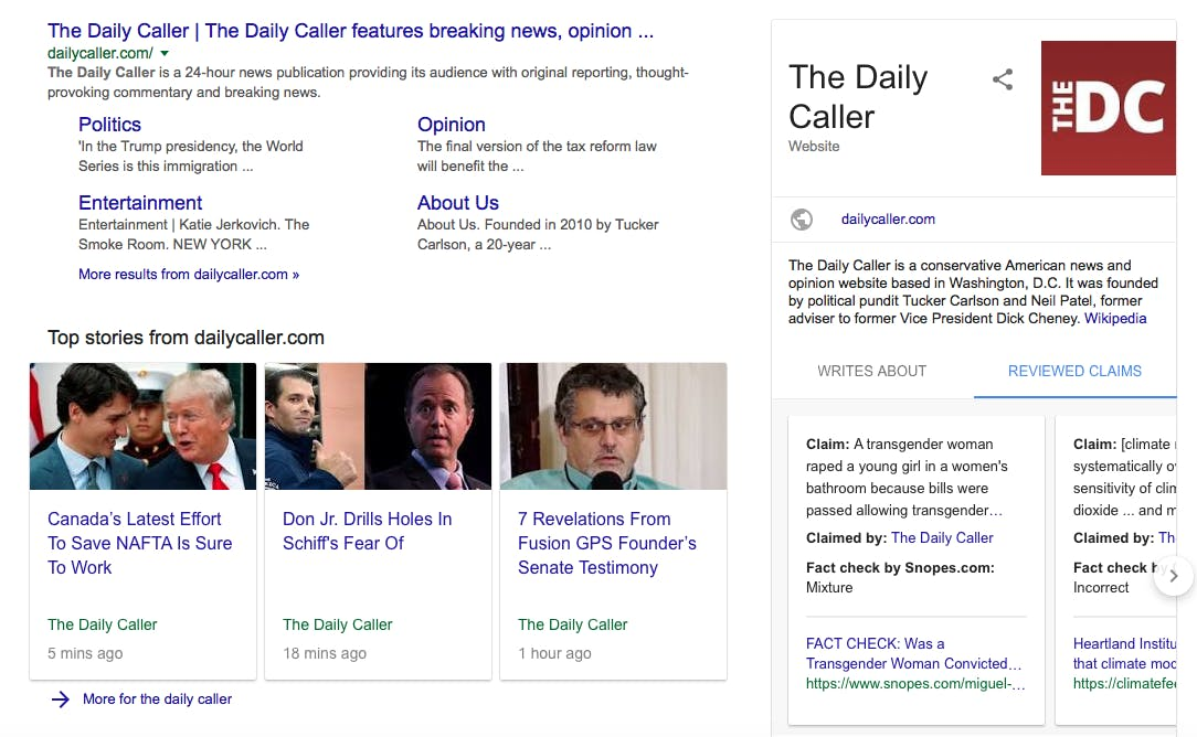Google Search for The Daily Caller