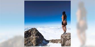Jaylene Cook posing nude on Mount Taranaki