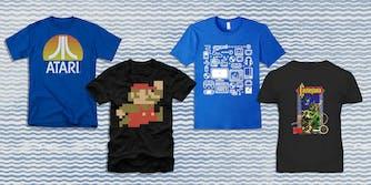 Atari, Super Mario Bros., and Castlevania t-shirts