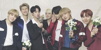BTS with their award.
