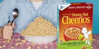 Boy with a big bowl of Cheerios