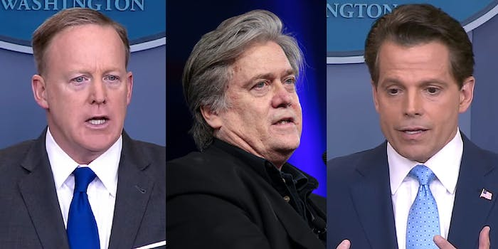 Sean Spicer, Steve Bannon, and Anthony Scaramucci
