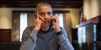 President Barack Obama talking on the phone