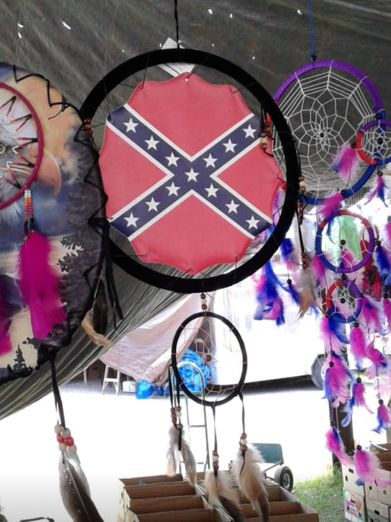 """Facebook user Jessica May posted this photo of a Confederate flag-adorned Native American dreamcatcher with the caption: """"A friend spotted this at a flea market in Texas lmao. Why. Whhhhhhhhhhhhhhhhhy."""" May was suspended for seven days for the post."""