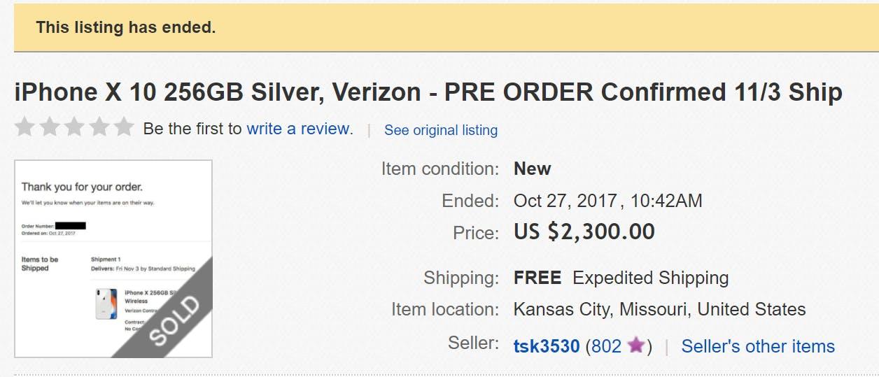 apple iphone x ebay sold listing