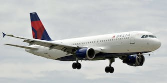 A Delta Airlines airplane midair