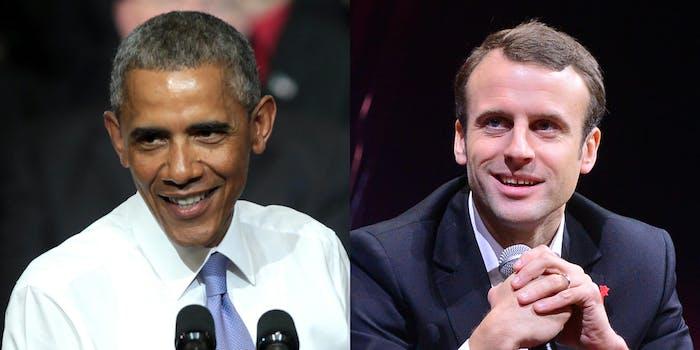 President Obama and Emmanuel Macron