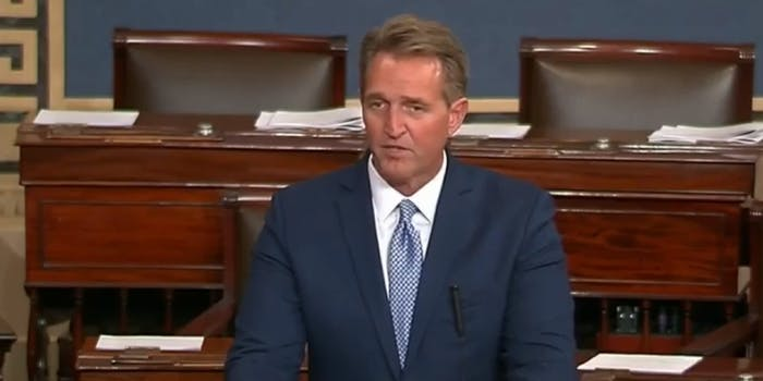 Sen. Jeff Flake roasted Donald Trump in a speech where he announced he would not seek reelection in 2018.