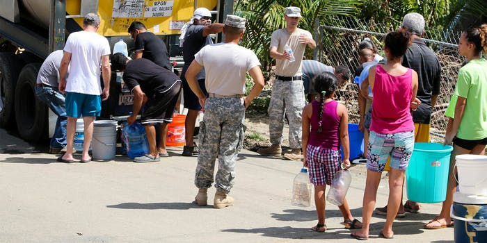 Puerto Rican National Guard delivering fresh water