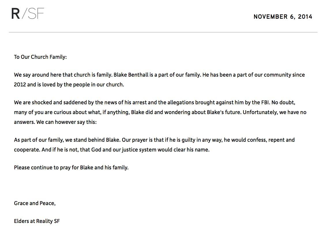 Reality/San Francisco church statement on Blake Benthall