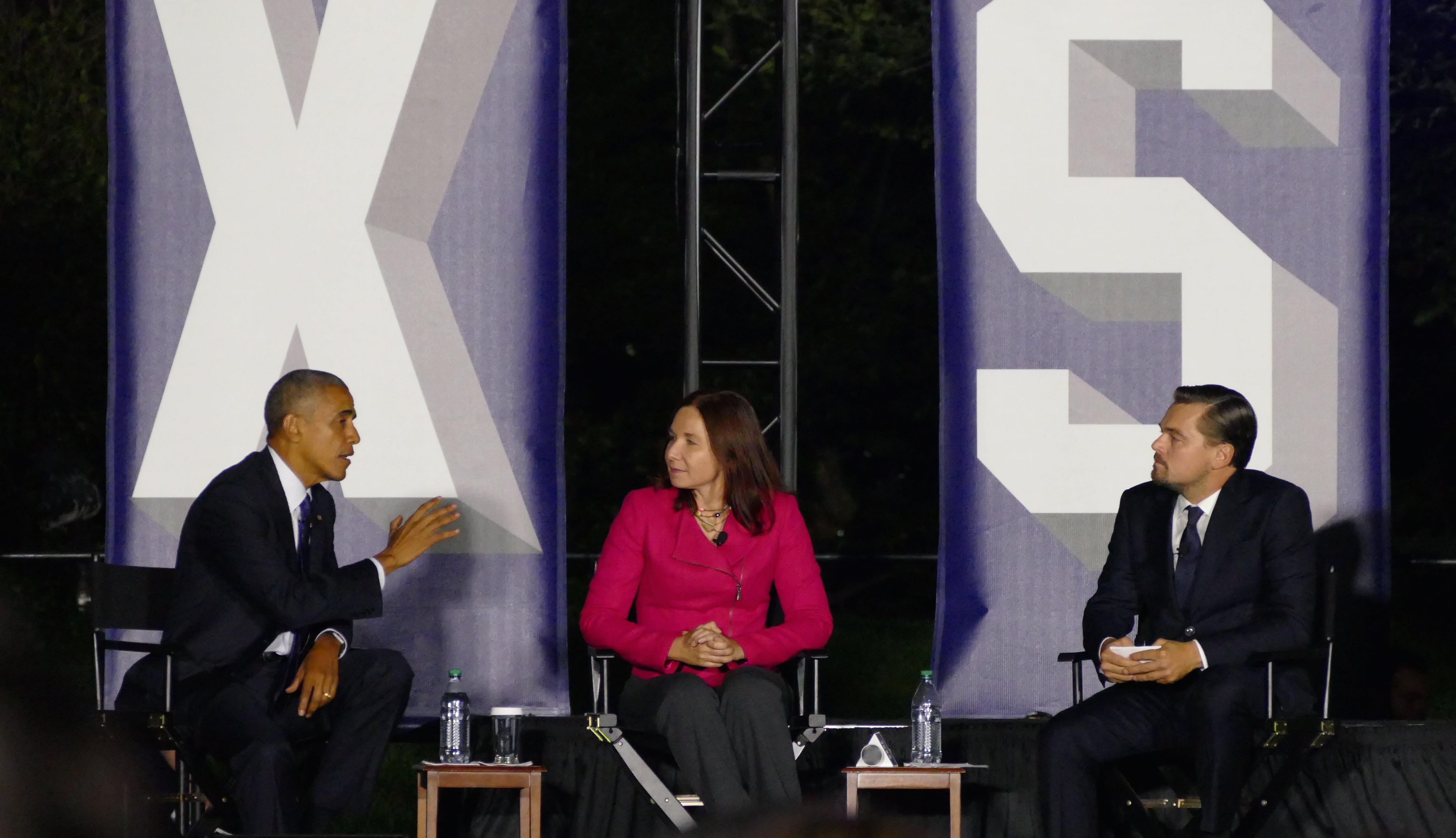 President Obama, Dr. Katharine Hayhoe, and Leonardo DiCaprio