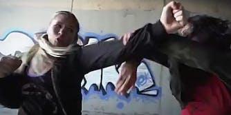 Elektra and Black Widow stunt doubles fighting