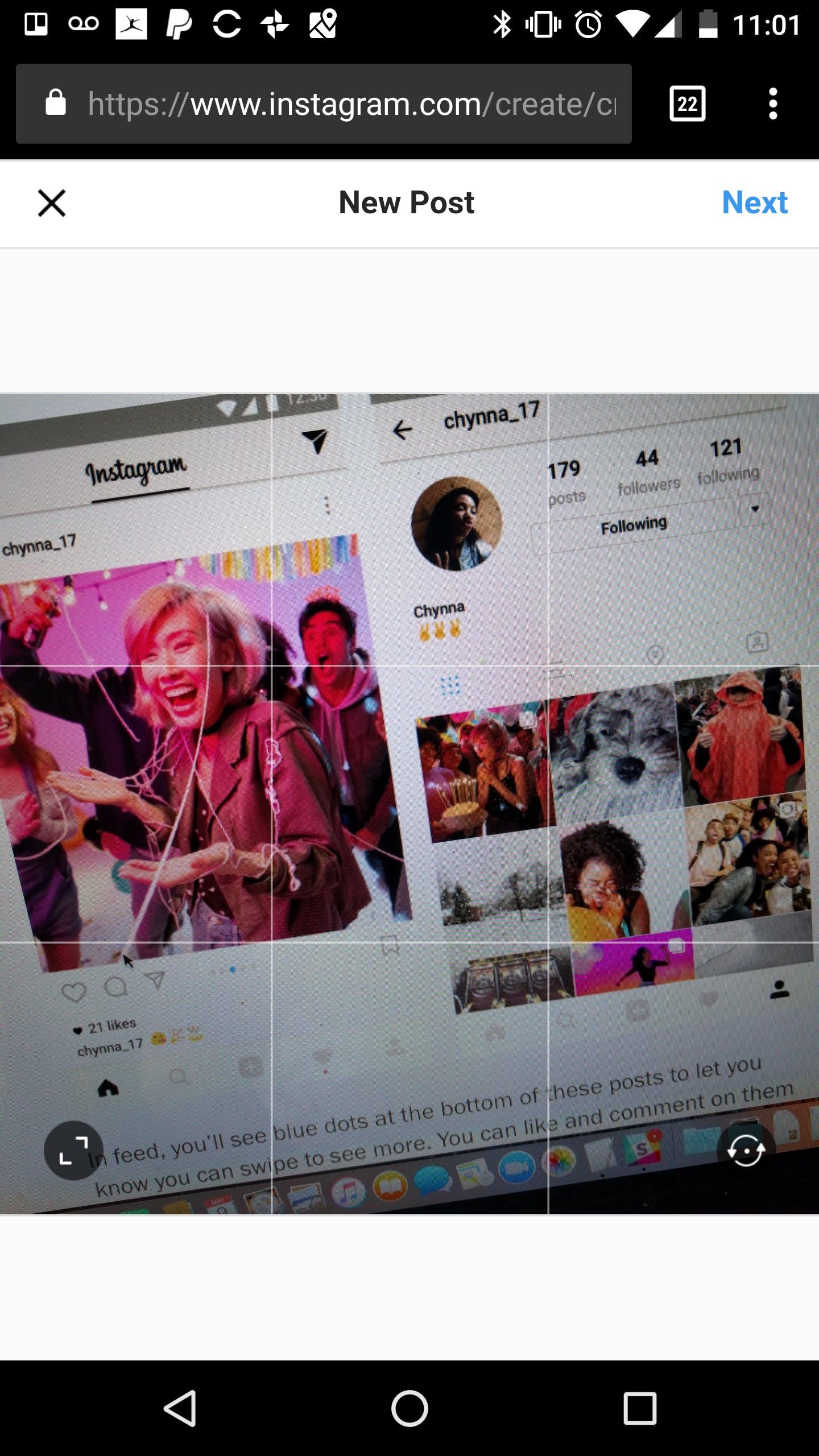 Instagram Mobile Site Screengrab