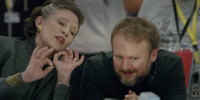 carrie fisher and rian johnson the last jedi