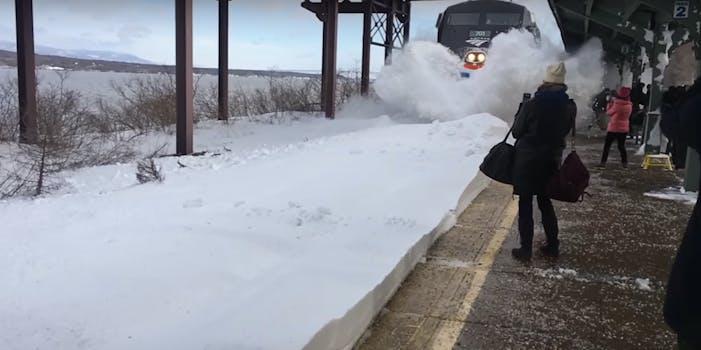 train plows snow