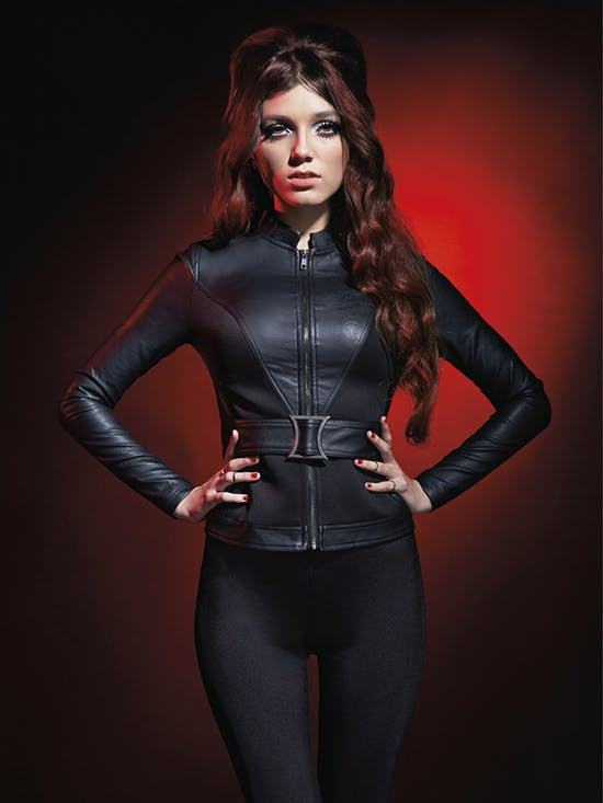 Black Widow jacket designed by Andrew MacLaine for the Marvel by Her Universe collection.