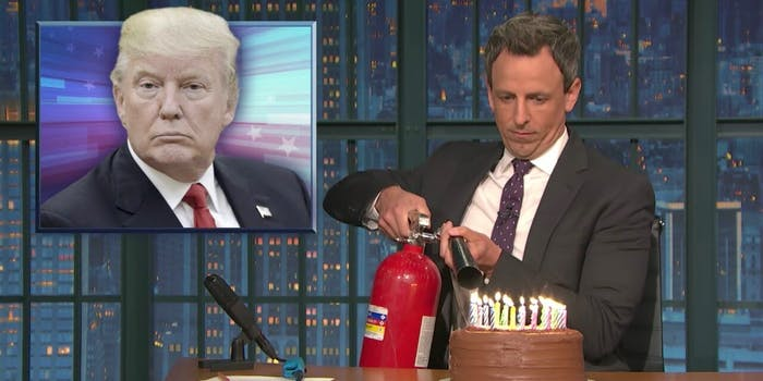 seth meyers trump cake