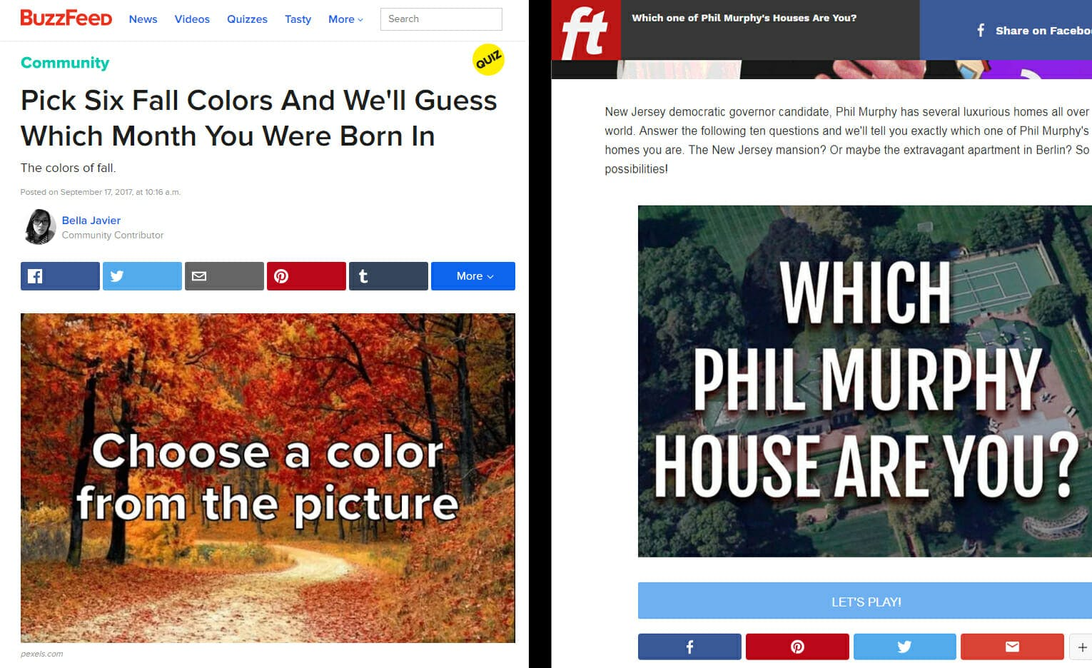 A side-by-side of a BuzzFeed quiz and a Free Telegraph quiz