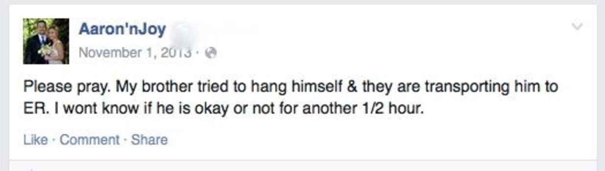 A Facebook update about a suicidal family member