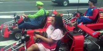 MariCar Mario Kart drivers dressed as Mario Bros characters