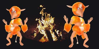 Firey puppets dancing in front of a campfire