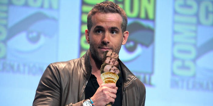 Ryan Reynolds holding ice cream cone with Chris Pratt, Chris Hemsworth, and Chris Evans heads as scoops of ice cream