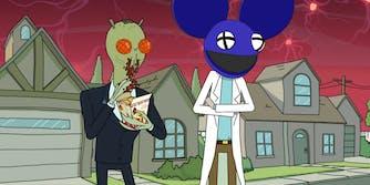 Rick Sanchez wearing Deadmau5 helmet, while Cornvelious Daniel eats Chicken McNuggets with Szechuan sauce