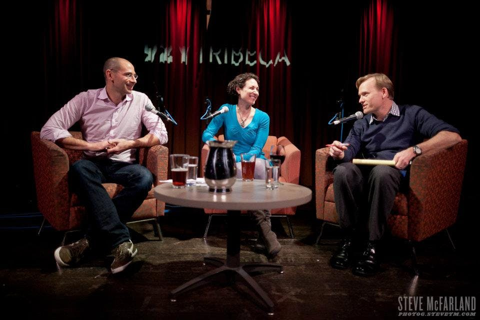 Political Gabfest (l-r): David Plotz, Emily Bazelon and John Dickerson at a live taping of the show.