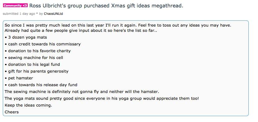 Ross Ulbricht Christmas Present Drive Reddit Post