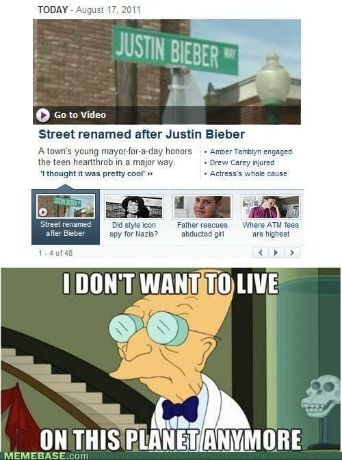 futurama memes : I don't want to live here anymore bieber
