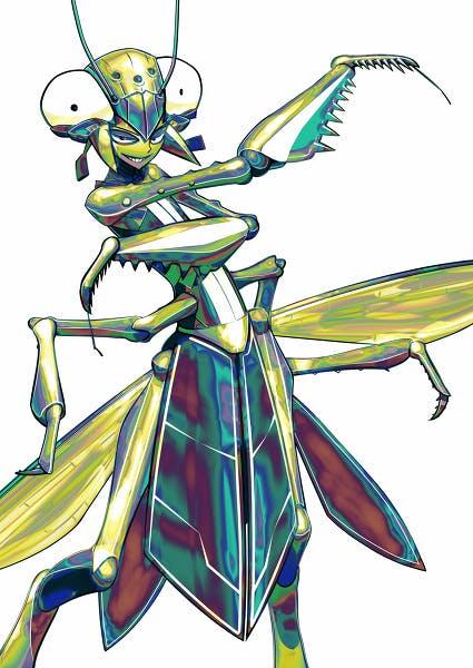 A praying mantis-like videogame character