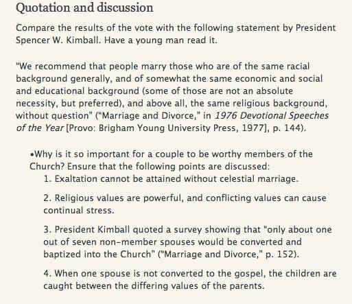 Mormon Manual Website Dating Regulations