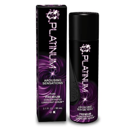 wet Platinum Arousing Sensations natural vaginal lube on a white background.