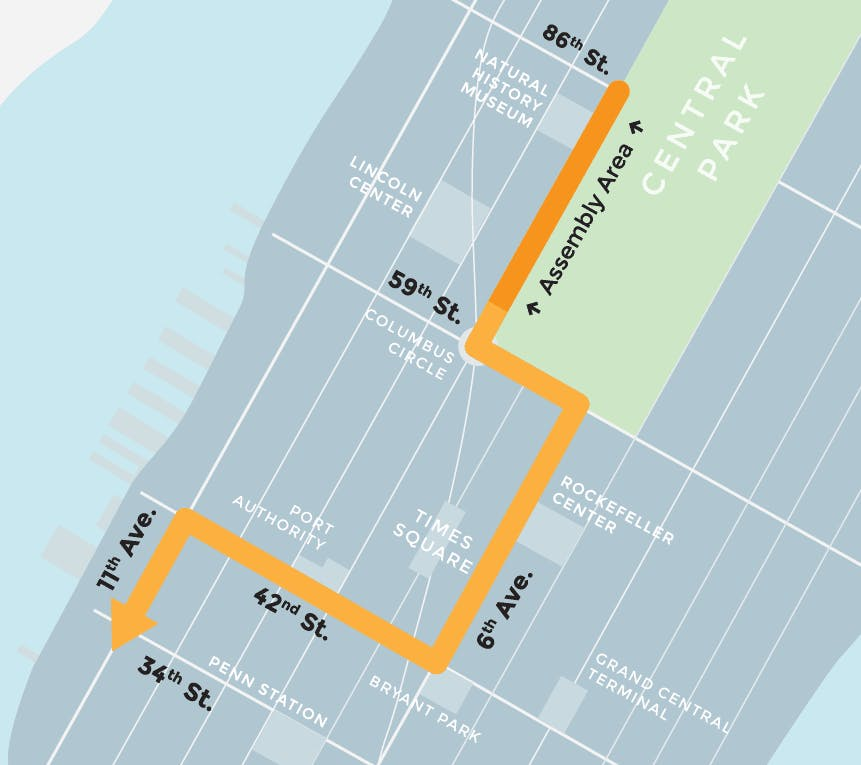 People's Climate March NYC route