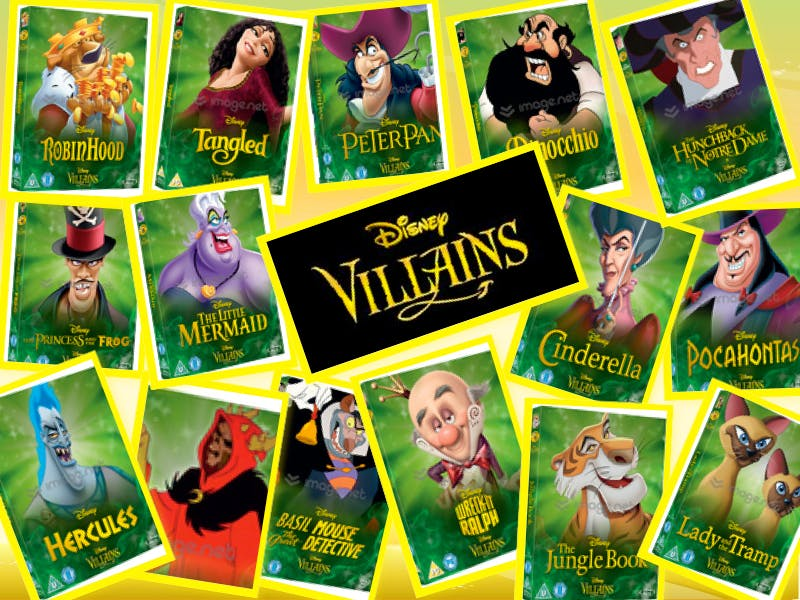 """A collage showing Disney's recently released DVD collection, repackaged to feature the villains from animated films on the cover of each DVD title. Villains include Ursula, Sir Hiss (Robin Hood), Jafar (Aladdin), and many more. The center of the collage reads """"Villains""""."""