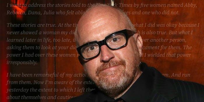 Apology behind Louis CK wearing glasses