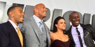 Tyrese, the Rock, and the cast of Fast and Furious
