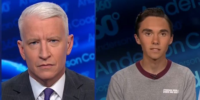 Anderson Cooper and David Hogg