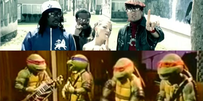 A Reddit conspiracy theory alleges the Black Eyed Peas once performed in a live-action Teenage Mutant Ninja Turtles show.