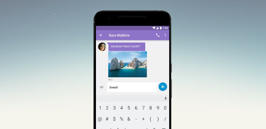 Android N text message screengrab