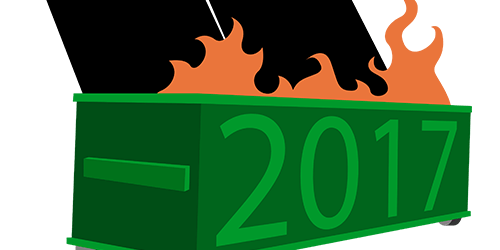 Dumpster on fire with