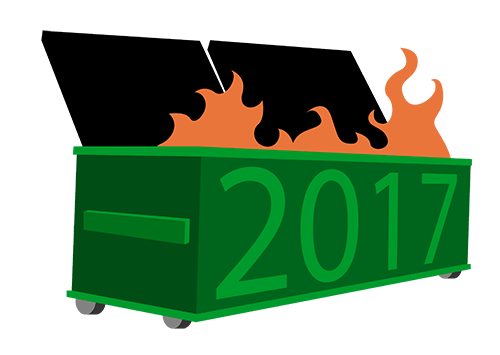 """Dumpster on fire with """"2017"""" on the front"""