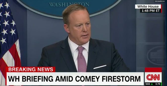 White House Press Secretary Sean Spicer speaks to the press on May 12.