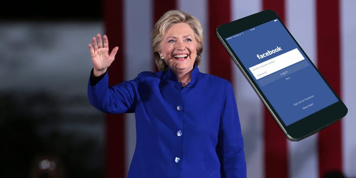 Hillary Clinton and a phone using the Facebook app.