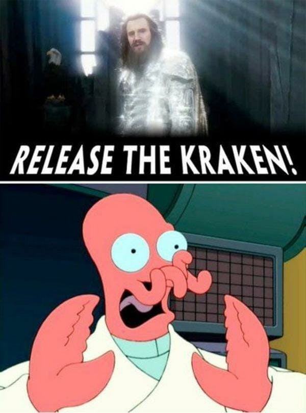 release the kraken meme: photo of zoidberg from futurama