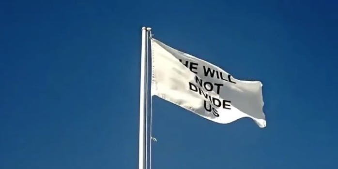 shia labeouf's he will not divide us flag