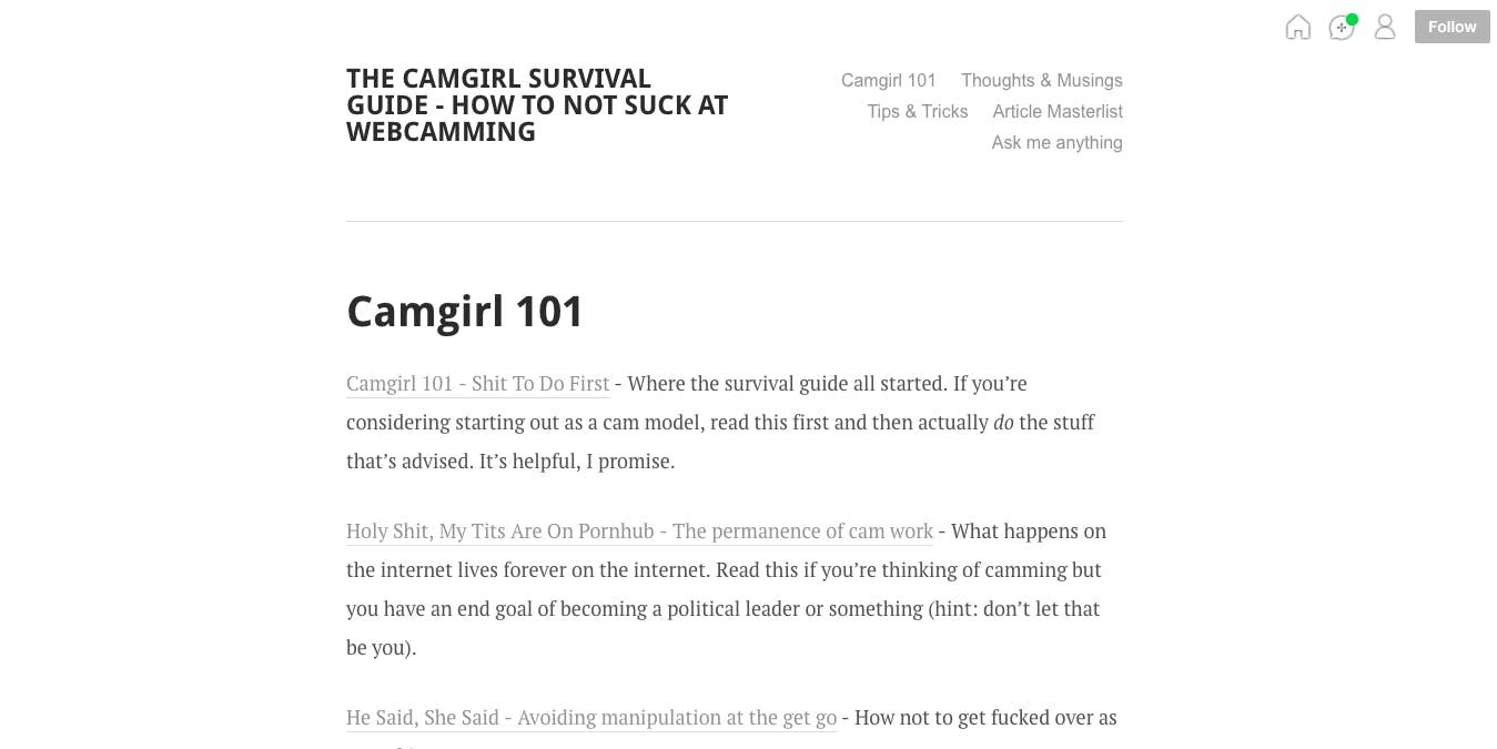 cam girl 101