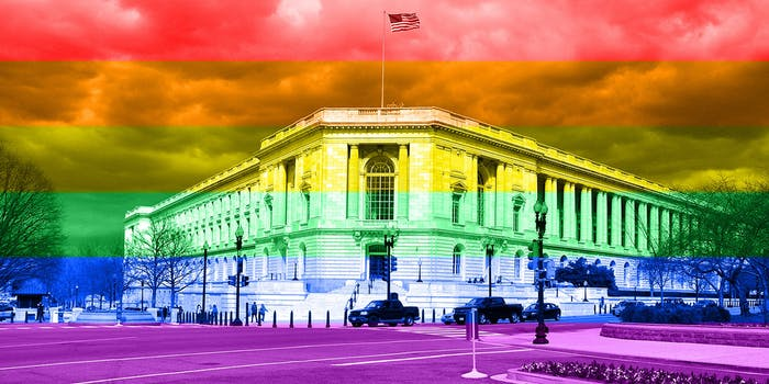 Senate building with LGBTQ color overlay