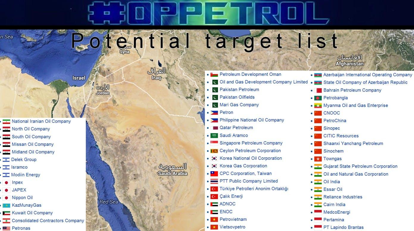 #OpPetrol target list map